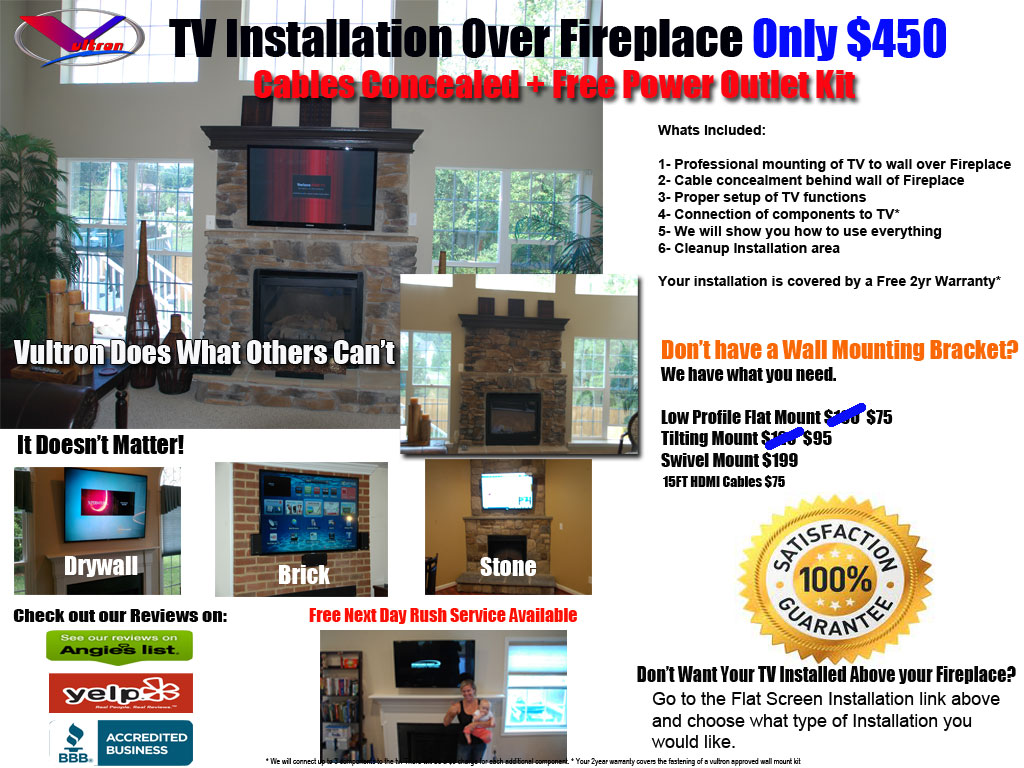 above fireplace tv installation 450