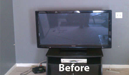 recessed flat screen installation before